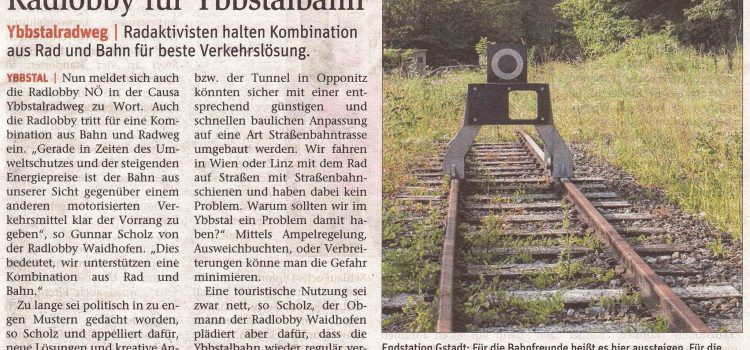 Waidhofen/Ybbs: Radlobby für Ybbstalbahn