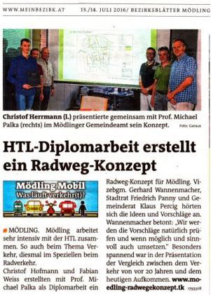 HTL-Diplomarbeit Radwegkonzept für Mödling
