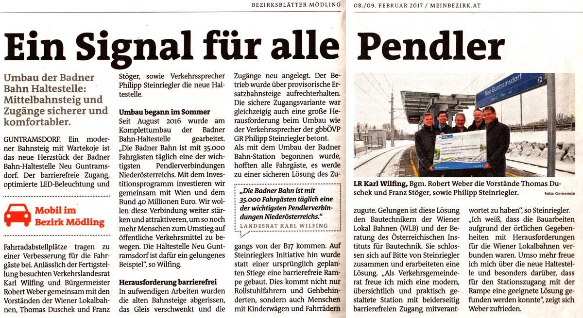 Ein Signal für alle Pendler - Bezirksblätter-Artikel über die Neueröffnung der Badnerbahn-Station Neu-Guntramsdorf