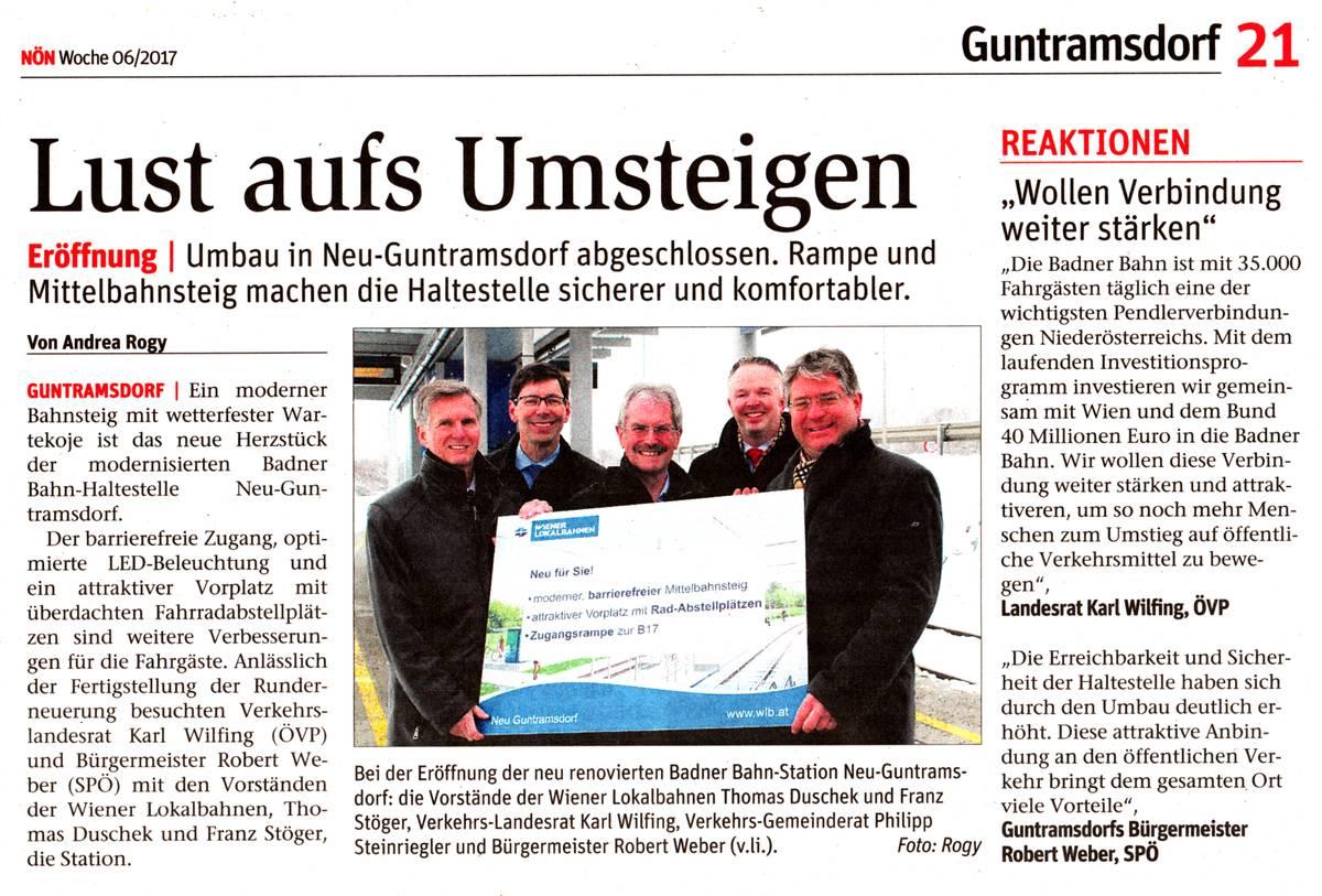 Lust aufs Umsteigen - NÖN-Artikel über die Neueröffnung der Badnerbahn-Station Neu-Guntramsdorf