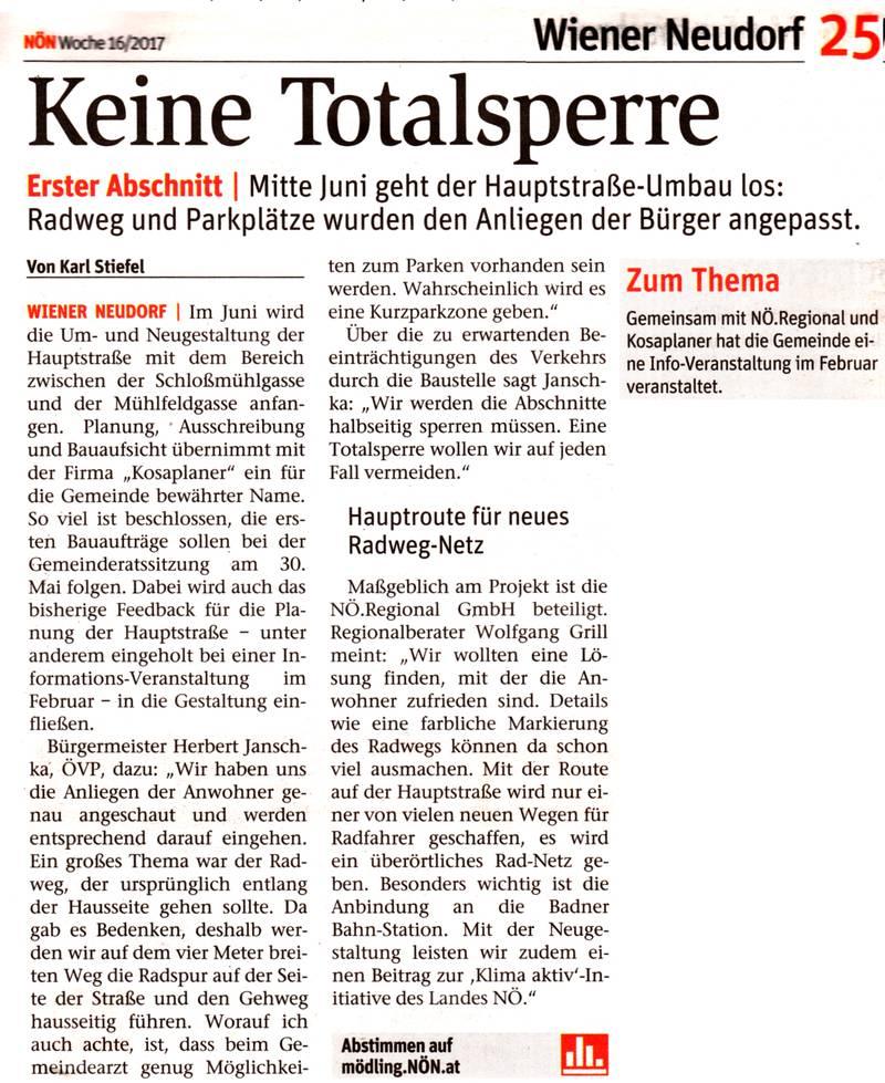 Zeitungsausschnitt NÖN 16/2017