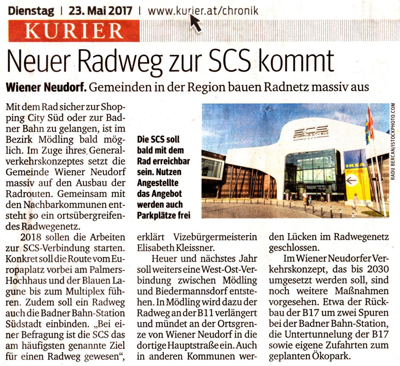 """Kurier-Zeitungsartikel """"Neuer Radweg zur SCS kommt"""