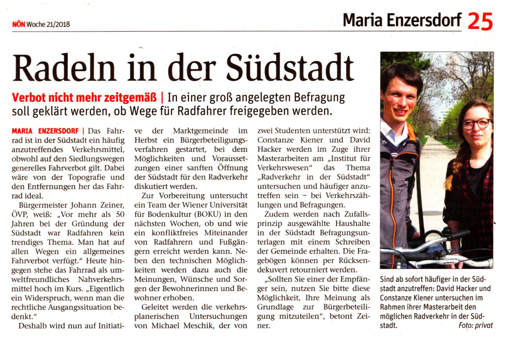 """Artikel NÖN 21/2018 """"Radeln in der Südstadt"""""""