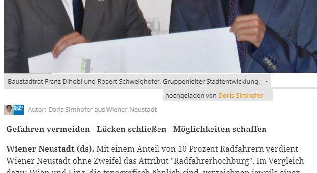Wiener Neustadt wird zur Hauptstadt für Radfahrer <br>Bezirksblätter, 9. Mai 2018