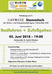Tullnerfeld Ost:<br>Einladung zum Energiestammtisch<br>am 5. Juni 2018<br>Radfahren & Zufußgehen