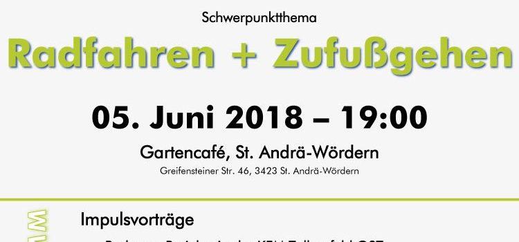 Tullnerfeld Ost:<br>Einladung zum Energiestammtisch am 5. Juni 2018<br>Radfahren & Zufußgehen