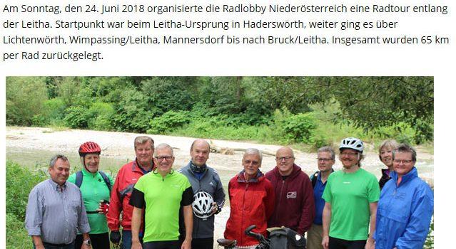 Radlobby Radtour – Leitha-Ursprung in Lanzenkirchen > Bruck/Leitha