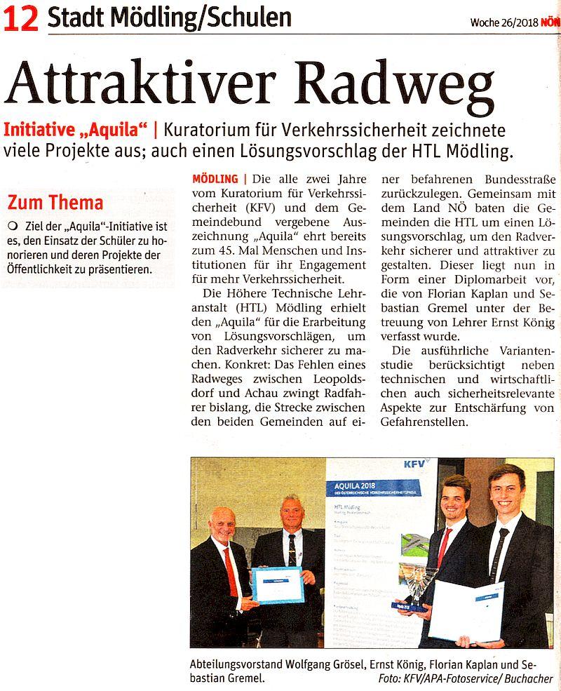 """NÖN-Artikel """"Attraktiver Radweg"""""""