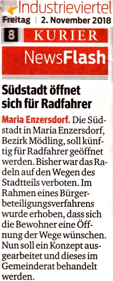 """Zeitungsausschnitt """"Südstadt öffnet sich für Radfahrer"""