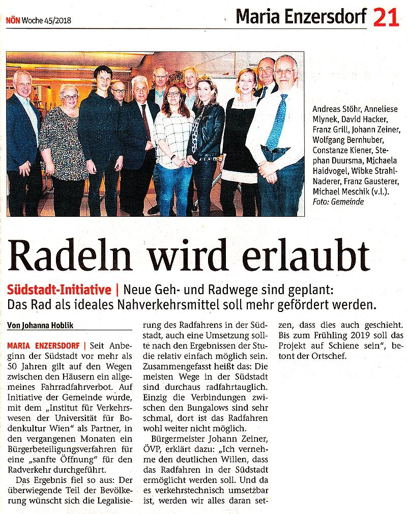 """Zeitungsauscchnitt NÖN """"Radeln wird erlaubt"""""""