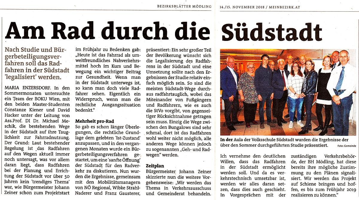 Zeitungsausschnitt Bezirksblätter: Am Rad durch die Südstadt