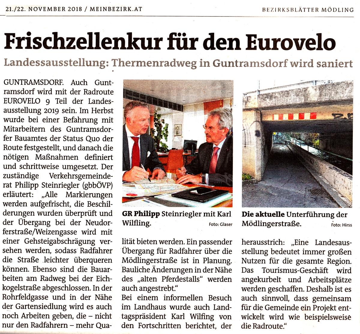 Zeitungsausschnitt Bezirksblätter: Frischzellenkur für den Eurovelo