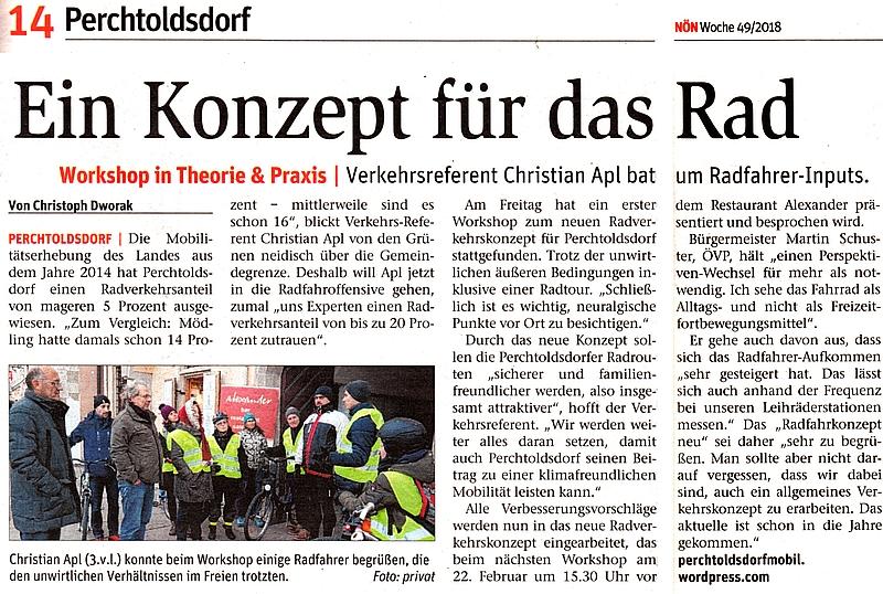 """Zeitungsausschnitt NÖN: """"Ein Konzept für das Rad"""""""