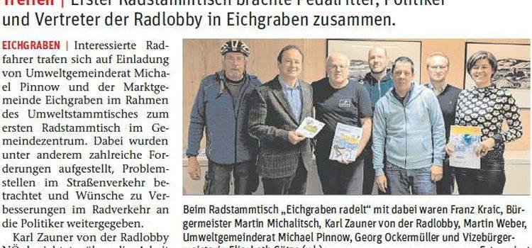 NÖN Bericht zum Radstammtisch in Eichgraben 27. Feb. 2019