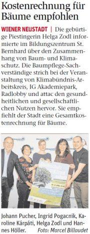 Radlobby Wiener Neustadt: Kostenrechnung für Bäume
