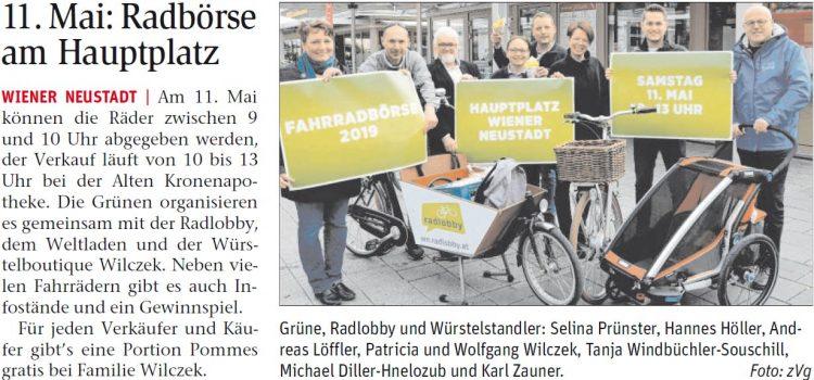 11. Mai 2018 – Radbörse der Grünen in Wiener Neustadt