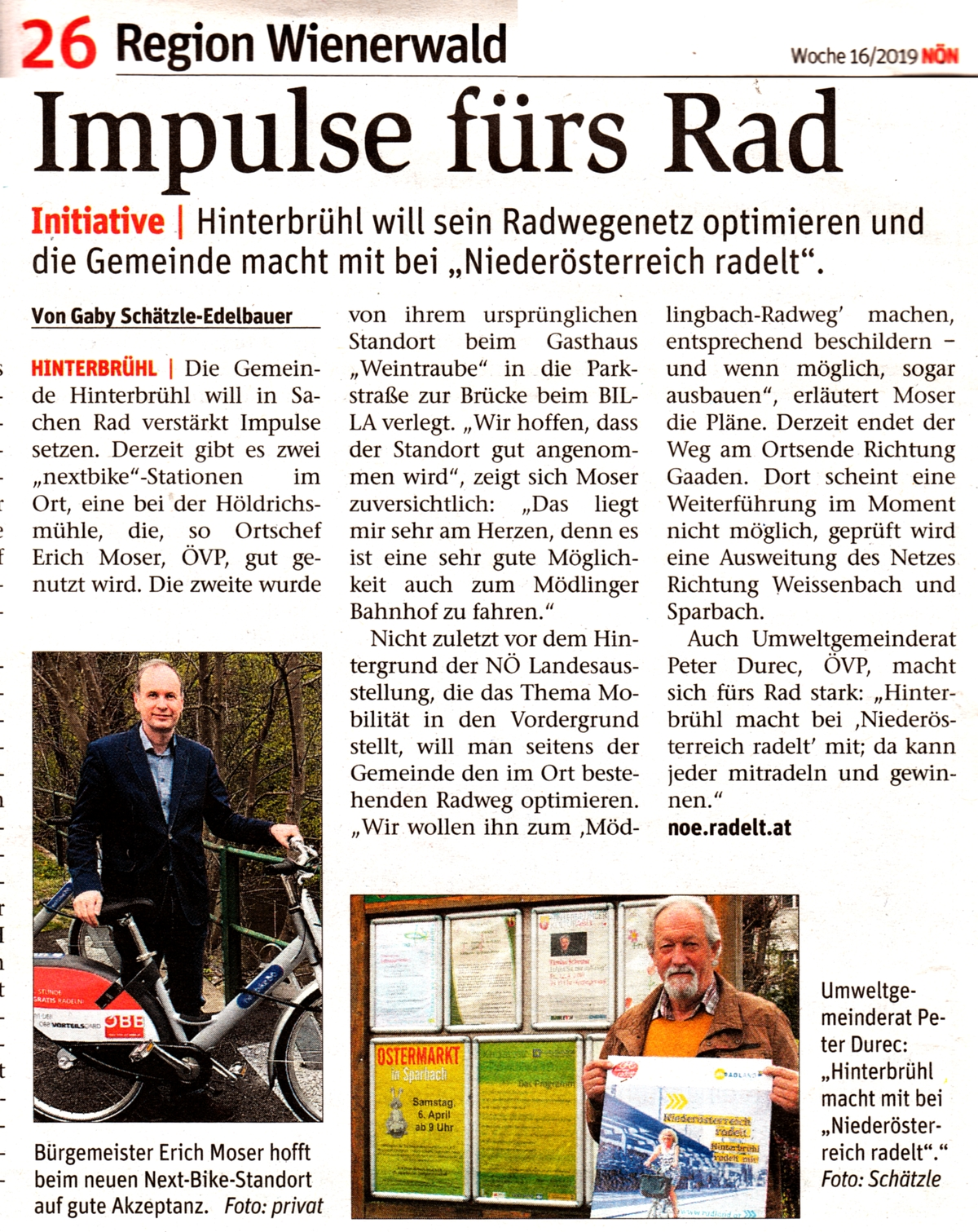 "NÖN-Artikel ""Impulse fürs Rad"""