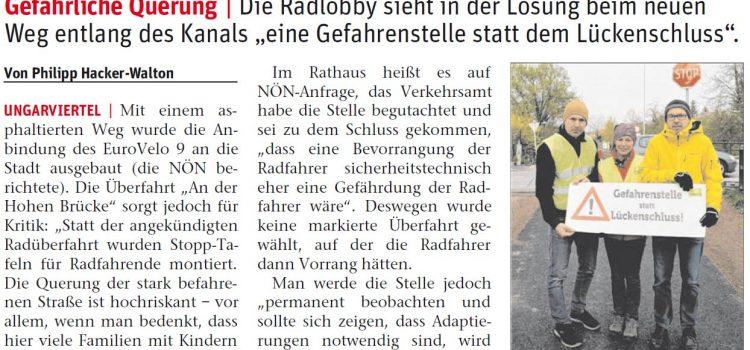 """Radlobby Kritik an Überfahrt """"An der Hohen Brücke"""" in Wiener Neustadt"""