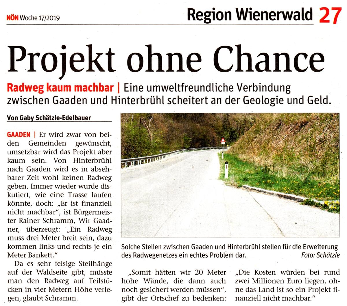 """NÖN-Artikel """"Projekt ohne Chance"""""""
