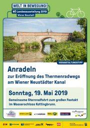 Eröffnung Thermenradweg Wiener Neustädter Kanal &#8211; 19. Mai 2019 <br>Radsternfahrt zum Fest nach Kottingbrunn