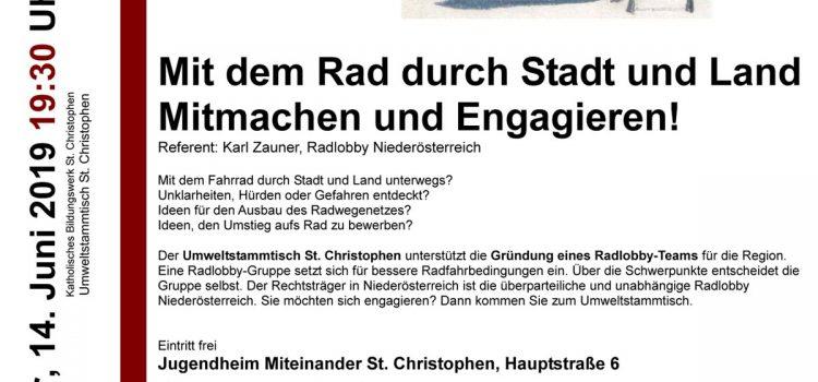Umweltstammtisch St. Christophen inititiert Radlobby Gruppengründung  | 14. Juni 2019