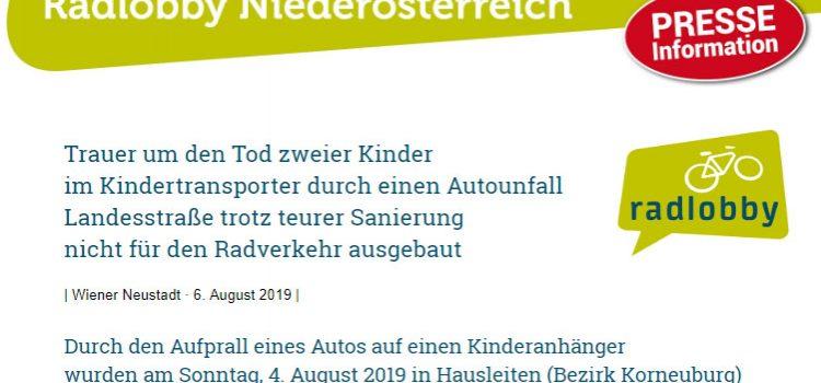 Trauer um den Tod zweier Kinder im Kindertransporter durch einen Autounfall <br>Landesstraße trotz teurer Sanierung  nicht für den Radverkehr ausgebaut