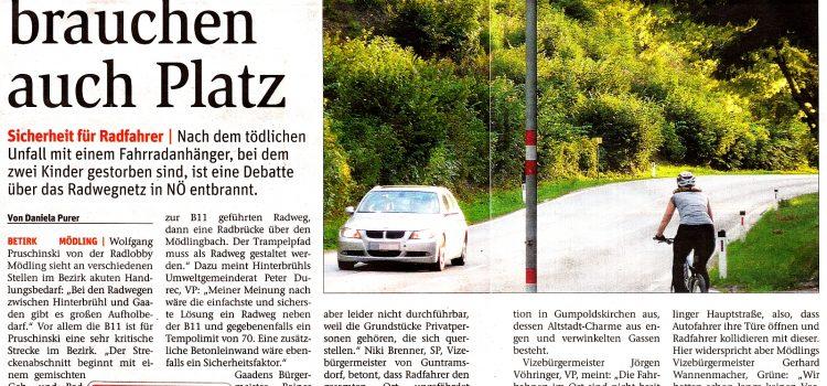Wo brauchen wir im Bezirk Mödling Radwege entlang von Überlandstraßen?