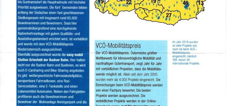 VCÖ-Mobilitätspreis für zwei Projekte im Bezirk Mödling