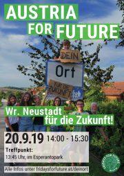 Wiener Neustadt | Fridays for Future Kundgebung <br>20. Sept. 2019 • 14 Uhr Esperantopark
