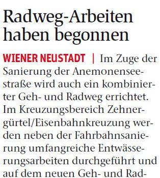 NÖN Wiener Neustadt | Endlich: Baubeginn Schul-Radweg Anemonenseestraße