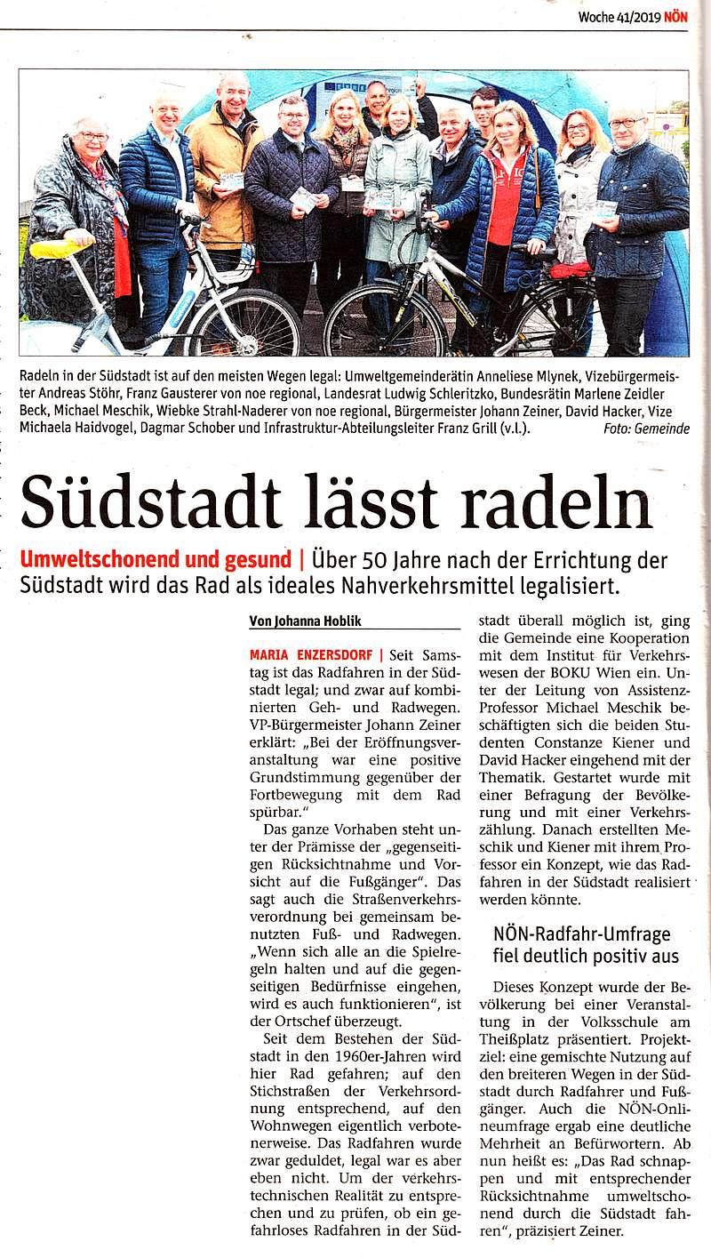 "Zeitungsartikel NÖN: ""Südstadt lässt radeln"""
