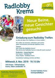 Radlobby Treffen – Krems <br>6. Nov. 2019 – VHS Krems