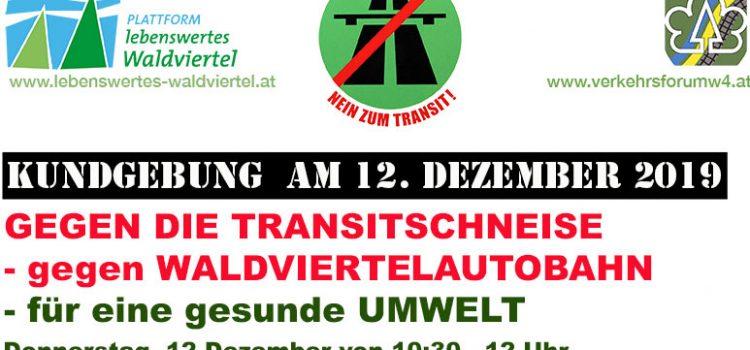 Waldviertel-Transitautobahn: Kundgebung vor dem Landhaus – Do. 12. Dez. 2019 – 10.30 bis 12.00 Uhr
