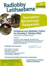 Radlobby Leithaebene: Sternfahrt · Workshops · Radparade <br>Treffen am Samstag, 3. Okt. 2020