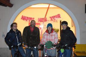 Die Radlobby St. Pölten eröffnete die Radlsaison beim Neujahrs-Radlstammtisch im Löwenhof.<br>von links: Georg Mitterlehner, Dieter Schmidradler, Maria Zögernitz, Walter Heimerl-Lesnik<br>Foto: Werner Hrabak, Radlobby St. Pölten