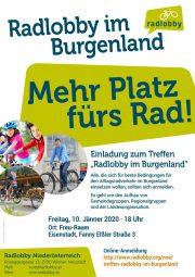 """Einladung zum Treffen """"Radlobby im Burgenland""""<br>Freitag, 10. Jänner 2020, ab 18 Uhr, Freu-Raum in Eisenstadt"""