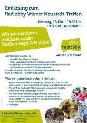 Einladung zum Radlobby Wiener Neustadt – Treffen <br>Dienstag, 13. Okt. 2020, 19.00 Uhr