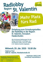 Einladung zur Gründung der Radlobby in der Region St. Valentin