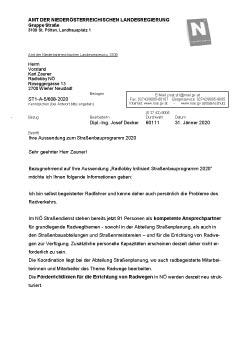 Stellungnahme von Straßenbaudirektor DI Decker | Landesstraßendienst NÖ <br>zur Radlobby-Kritik am NÖ Straßenbauprogramm 2020
