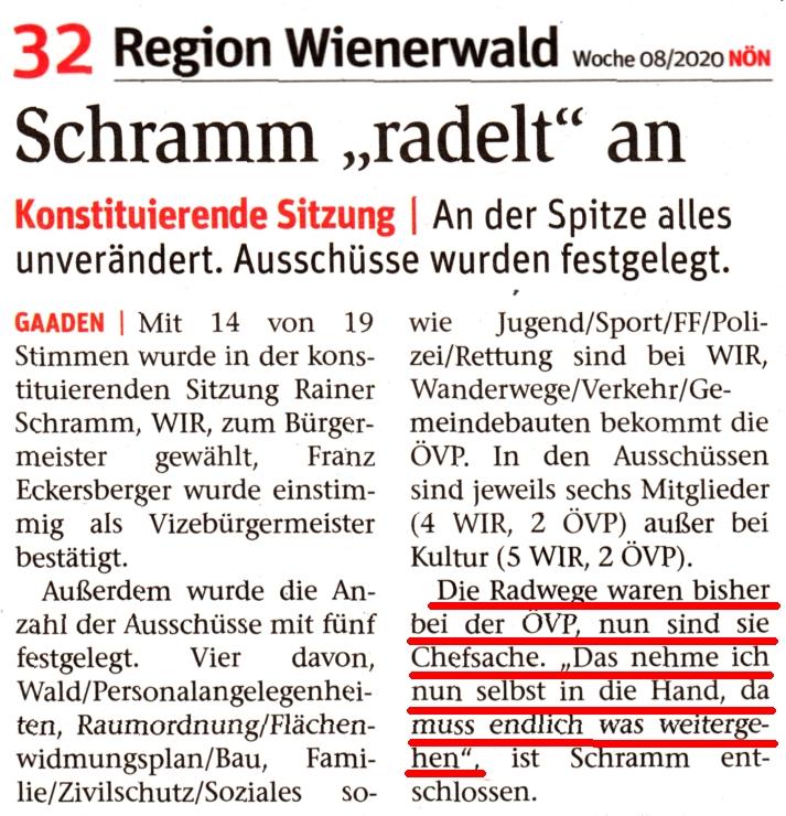 "Zeitungsartikel NÖN ""Schramm radelt an."""
