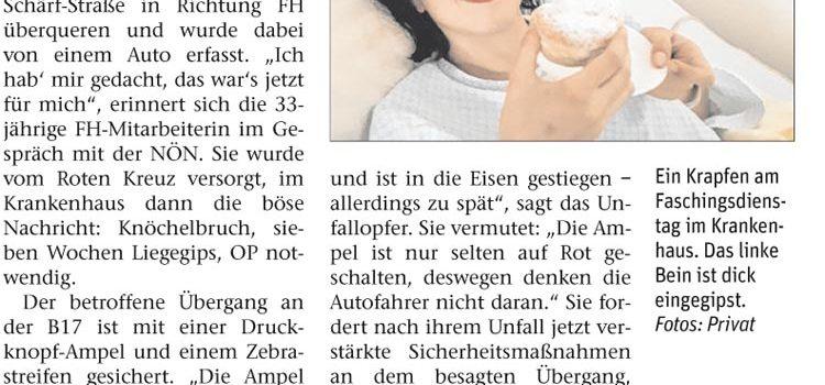 Wiener Neustadt – Wiener Straße – bei RIZ/Fachhochschule: <br>Autofahrer missachtete die Ampel und verletzte Radfahrerin schwer