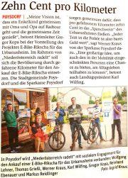 NÖN: Poysdorf radelt <br>10 Cent pro km für ein E-Bike-Rikscha des Urbanusheimes