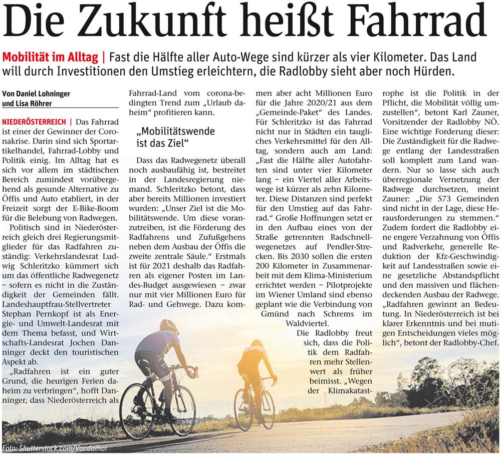 NÖN: Die Zukunft heißt Fahrrad Berichte in allen NÖN