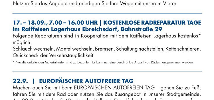 Ebreichsdorf ist dabei: Kostenlose Radreparatur   Autofreier Tag   Kostenfreier Citybus <br>Europäische Mobilitätswoche 16.-22. Sept. 2020