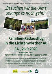 Familien Radausflug in die Lichtenwörther Au <br>Besuchen wir die Ulme, solange es noch geht <br>Sa. 26. Sept. 2020