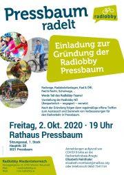 Einladung zur Gründung der Radlobby Pressbaum <br>Freitag, 2. Oktober 2020 · Rathaus Pressbaum