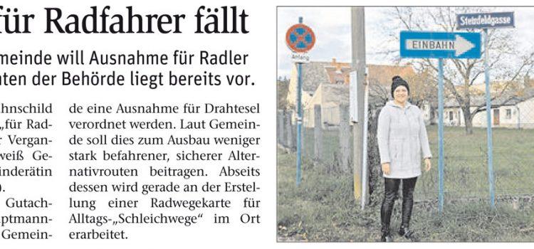NÖN: Bad Erlach – Einbahn wird für den Radverkehr in beide Richtungen geöffnet