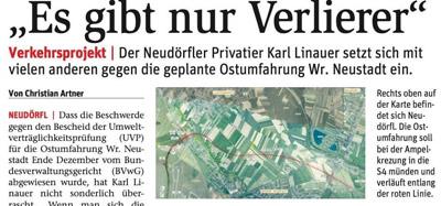 """Karl Linauer setzt sich gegen die geplante Ost""""umfahrung"""" <br>in Wiener Neustadt ein. <br>Die BVZ berichtet."""