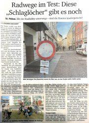 Kurier-Bericht: Radwegetest in St. Pölten