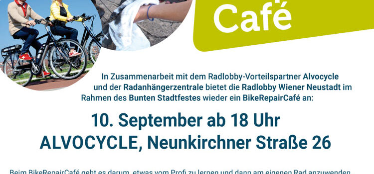 Wiener Neustadt: Bike Repair Café <br>10. Sept. 2021 · 18 Uhr